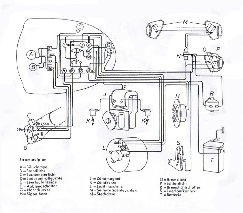 Wiring Diagram R513 R68 1953 1955 With Brake Light on bmw wiring diagrams